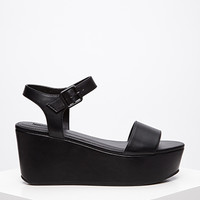 Faux Leather Flatform Sandals