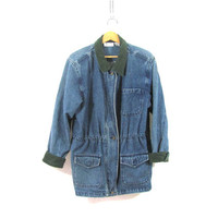 20% OFF SALE...vintage denim jean jacket / women's field coat / size L