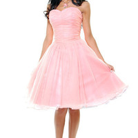 Sweet As Peach Pie Strapless Chiffon Swing Dress - Unique Vintage - Cocktail, Evening  Pinup Dresses