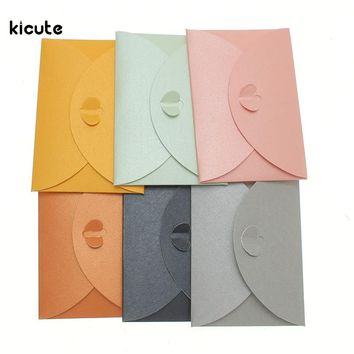 10pcs/lot Colorful Paper Envelope Pearl Colored Heart Clasp Envelopes Wedding Invitation Envelope Gift DIY Envelopes 10x7cm
