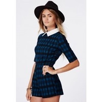 Missguided - Britney Checked Contrast Collar Romper Blue