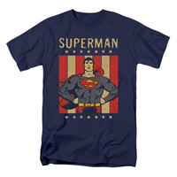 DC Comics Men's  Retro Liberty T-shirt Blue Rockabilia