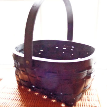 Woven wooden basic black wood picnic baskets country cottage farmhouse colonial cottage chic simple decor basket