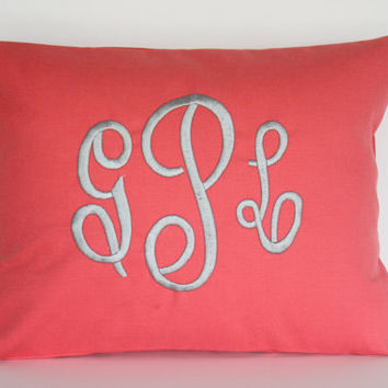 Monogrammed Pillow Decorative Throw Pillow Cover Personalized Home Decor 12 x 16 Baby Gift Dorm Decor