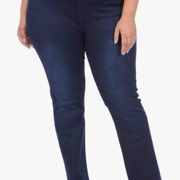 Rebeccah High Rise Pull On Straight in Midnight - Curve Fit