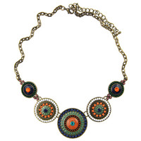 New Fashion Women Punk Antique Bronze Plated Colorful Beads Pendants Chunky Chains Statement Necklace Jewelry