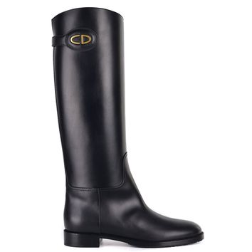 Dior Womens Black Leather Diorable Knee High Boots