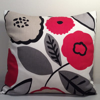 "2 Handmade Pillow Covers - Modern, Floral Print - READY TO SHIP - 14"" x 14"""