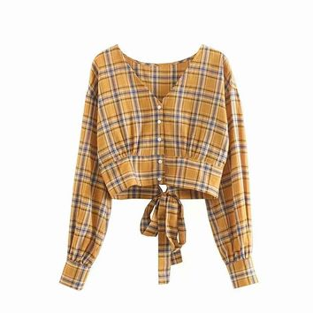 Autumn new youth women's classic plaid V-neck open shirt