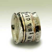 Sterling silver band with engraved silver spinner by artisanlook