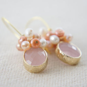 Ice pink gem and freshwater pearls dangling earrings, pink, white, wedding, bridesmaid, gift
