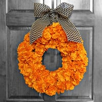 Fall Hydrangea Wreath - Halloween Wreath - Orange Hydrangea Wreath - Black Chevron Burlap - Front Door Decorations - Front Door Wreaths