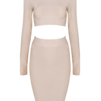 Blush Pink Co-ord Bandage Bodycon Two-Piece Midi Dress