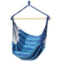Blue Hanging Rope Chair Porch Swing Seat Patio Camping Max. 265 Lbs (Blue, 1)
