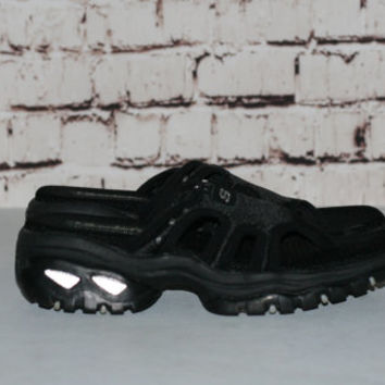 90s Chunky Sandals Black Skechers US 9 Shoes Boots Platform Slip On Grunge Cyber Pastel Punk Hipster Goth Minimalist Club Kid Sporty UK 6 39