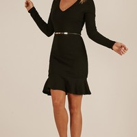 Right On Cue dress in black Produced By SHOWPO