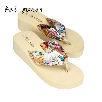 High Quality New Style Bohemia Floral Beach Sandals Wedge Platform Thongs Slippers Flip Flops Free Shipping Dropshipping Aug 29