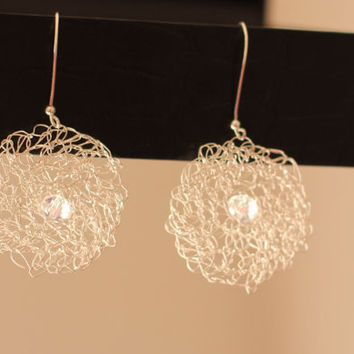 Sterling Silver Ear rings Dangle wire wrapped Metal Jewelry Handmade White glass Beads Contemporary luxe style  Bridal