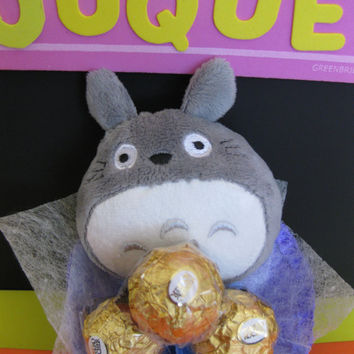 Totoro Plush Doll with 3 Ferrero Rocher in a Mini Bouquet! Sweet little gift for her! Cute.