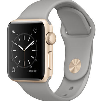 Apple Watch Series 2 38mm Gold-Tone Aluminum Case with Concrete Sport Band - Jewelry & Watches - Macy's