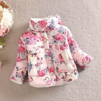 girls warm coat 2016 new flower jacket children baby winter long sleeve cotton-padded clothes kids christmas outwear