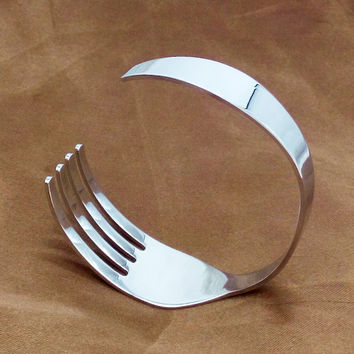 Silver Fork In The Road Stainless Steel Unisex Bangle Bracelet