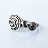 Sterling Silver Triple Spiral Ring | Oxidized 925 wire ring made to order