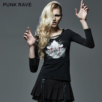 Aliexpress.com : Buy Punk rave Fashion Casual Personality Cat Printing Visual Kei Top Cotton Women Tee Shirt Kera from Reliable womens tee shirts suppliers on Punk Rave Store