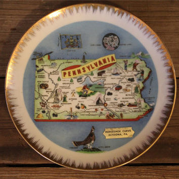 Vintage Pennsylvania Souvenir Plate- Travel- Camping- Home Decor- Wanderlust- Small Plate- State- USA- Road Trip- Kitsch- Kitchen- Altoona