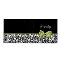 Pretty Leopard Print Spring Green Bow With Name 3 Ring Binder