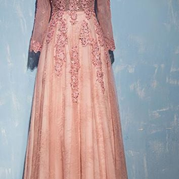Vintage long Evening dress V neck long-sleeve banquet lace evening dress pink formal dresses