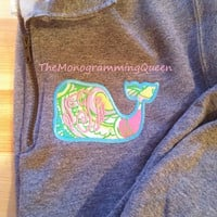 Lilly Pulitzer Chin Chin Monogram Whale 1/4 zip sweatshirt Vineyard Vines Inspired