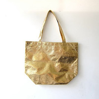 20% OFF SALE vintage GOLD shoulder bag. Metallic purse. Market bag. Multi use tote.