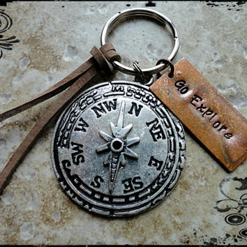 Go Explore Copper and Silver Compass Charm Hand Stamped Keychain Traveler Keychain