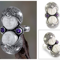 Artisan Crafted Sterling Silver and Amethyst Cocktail Ring - Royal Romance | NOVICA