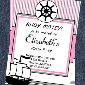 Pirate Party Invitations | Printable Girl Invitation | More Pirate Invites and Party Decor Available in our Shop