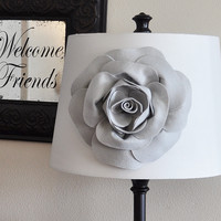 Gray Rose Lampshade Flower Accessory -Lamp Shade Magnetic Flower Embellishment- New Collection
