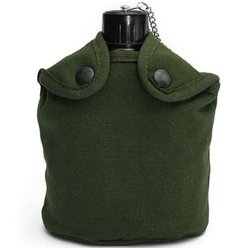 Hot 800ml Outdoor Sport Military Aluminum Stainless Steel Water Bottle Canteen Jug + Army Green Cloth Cover Camping Picnic Tools