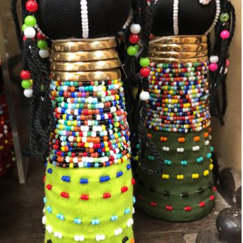 Ndebele Beaded Dolls Gold Ring Necks-Small