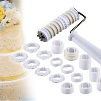 Fondant Ribbon, Cutter, Embosser Cake Decorating Tool Set (White)