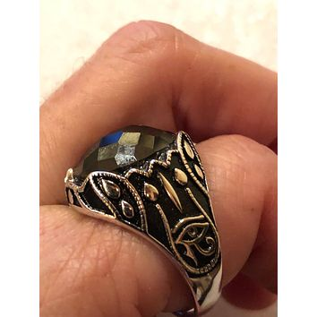 Vintage 1970 Gothic Sterling silver Genuine Hemitite eye of Horus Men's Ring