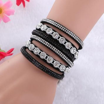 Multi layered rhinestone crystal bracelet