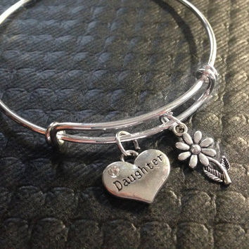 Daughter Charm Bangle Silver Adjustable Expandable Bracelet Trendy Handmade (Kid's Size Available upon request)