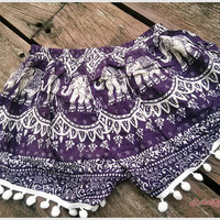 Purple Pom Pom Shorts Boho Hobo Beach Hippie Elephant Hipster Rayon Dot Trimming Paisley Clothing Aztec Ethnic Ikat Sleepwear Underwear Trim