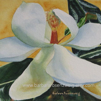 Original Flower Painting, Magnolia Painting, Floral Watercolor Painting Art, Magnolia Wall Art, Garden Home Decor Gift, Barbara Rosenzweig