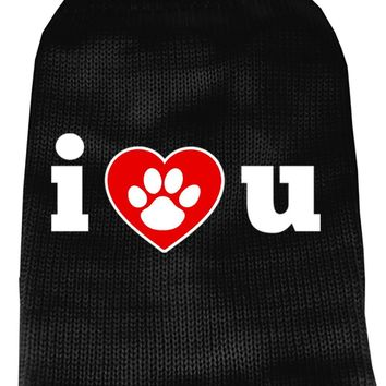 I Love You Screen Print Knit Pet Sweater Sm Black
