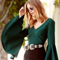 Ring the Bell Dark Green Long Sleeve Crop Top