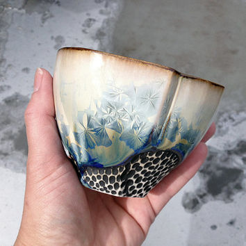 Tea Bowl with White and Blue Crystalline Glaze, One of a Kind Hand Built Ceramic Art Vessel for Tea Lovers. 3.25 in tall.  Food Safe.