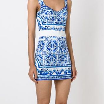 Dolce & Gabbana Majolica Print Mini Dress - Vinicio - Farfetch.com