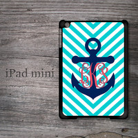 Preppy anchor iPad mini case nautical monogram chevron snap on hard cover